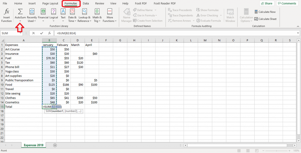 using autosum to add up a column in excel