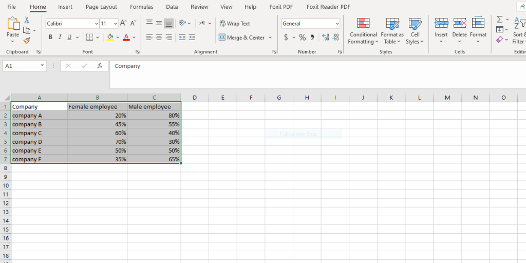 select the data to make a bar char in excel