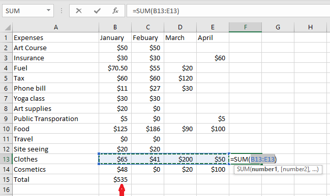using autosum to add up a row in excel