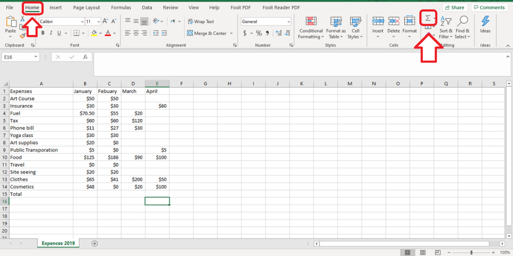 autosum is in editing in home tab in excel