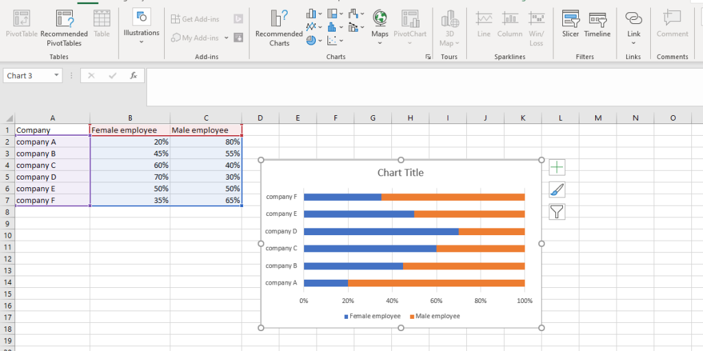the bar chart appears on the excel worksheet