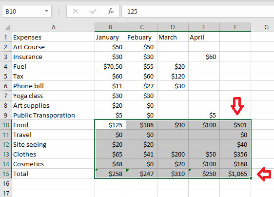 using autosum to sum and get the grand total of adjacent group of cells in excel