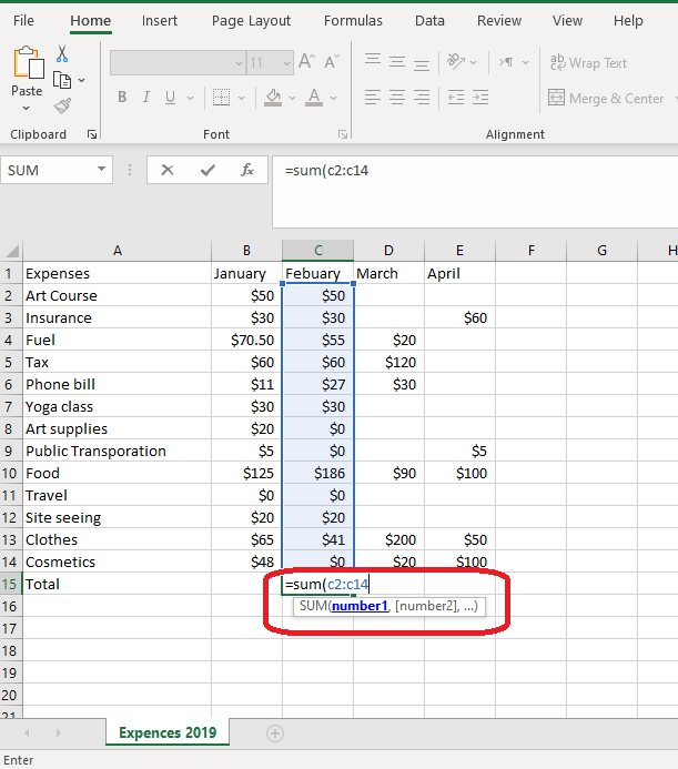 how to add and entire column using the formula