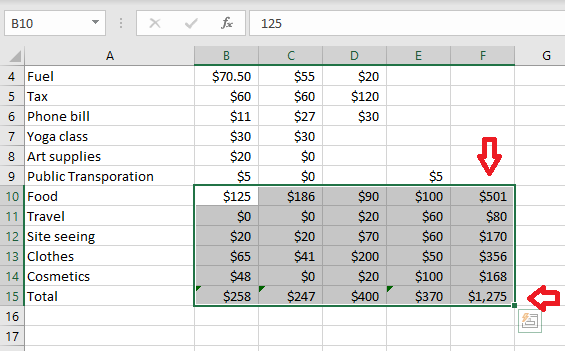 updating the data in the group of adjacent cells and getting the sum and grand total update in excel