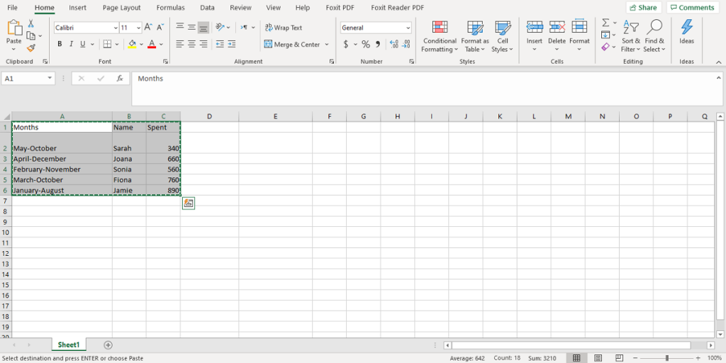 how to select a table in excel