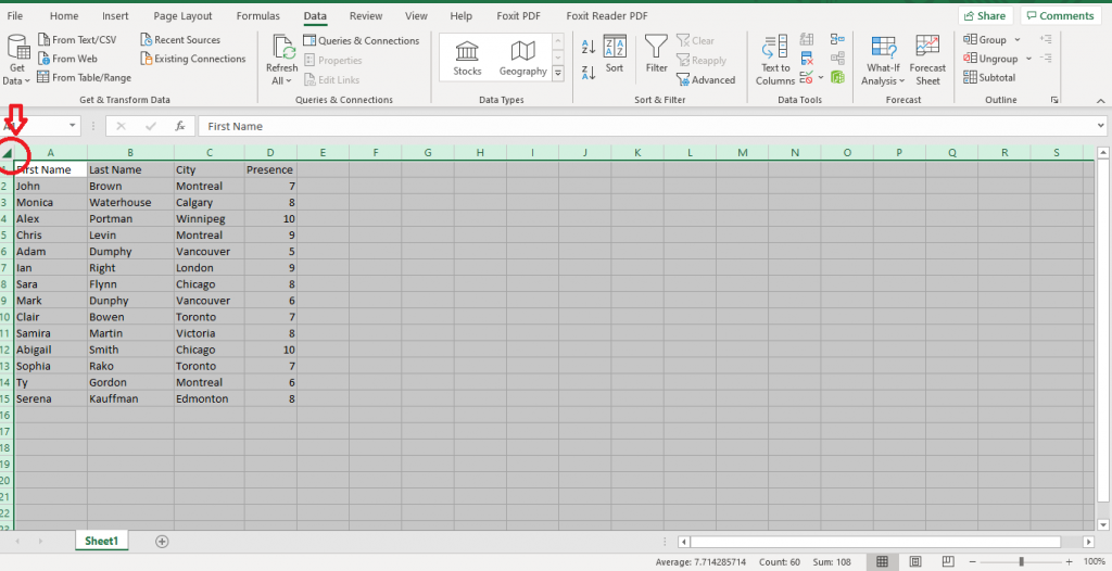 selecting the entire worksheet before alphabetizing in Excel