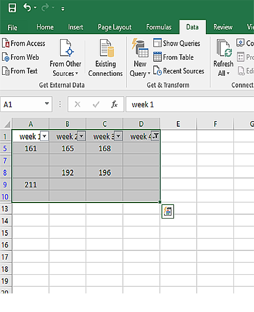 only rows with blank cells on column D that have data on other columns are left.