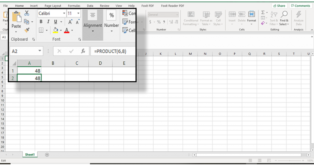 multiplication in excel using product function