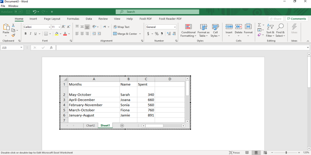 an excel table embedded in word