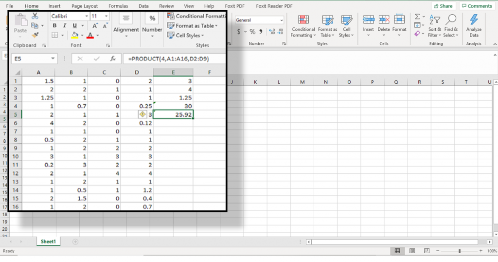 You can multiply any combination of, formulas, ranges, cells, and numbers with the Product function