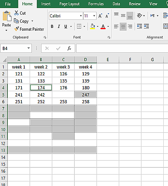 both the blank rows and the rows with some blank cells are selected and all of the blank cells are removed