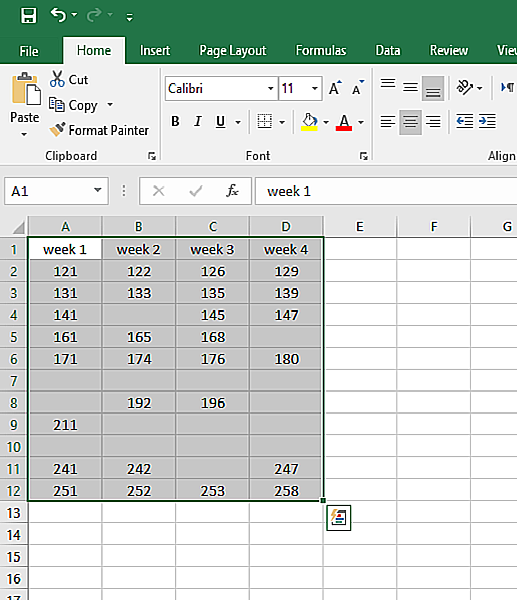 select all the columns that you want to remove blank rows from