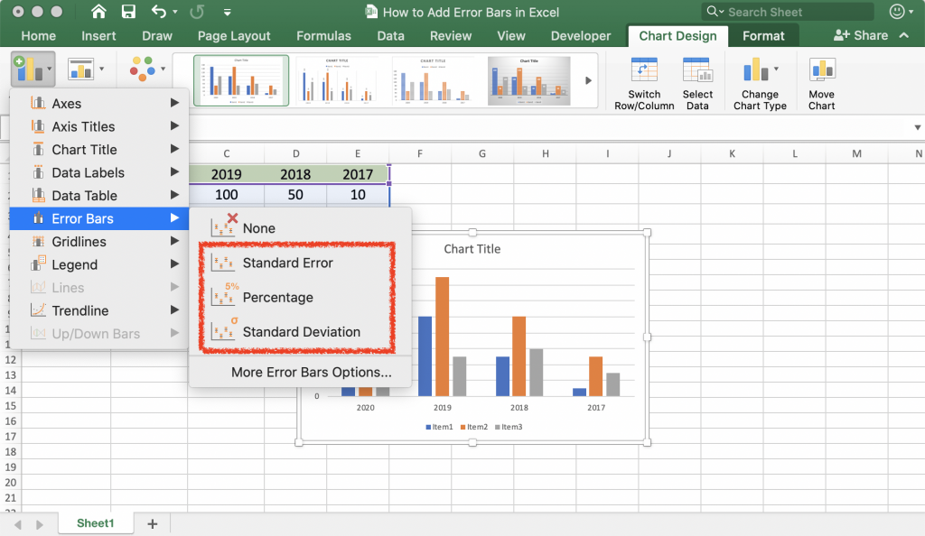 3 different error bars options in Excel