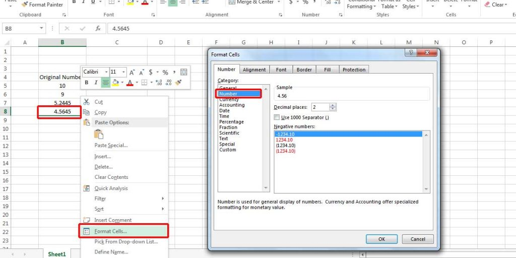 Round numbers in Excel using format cells option