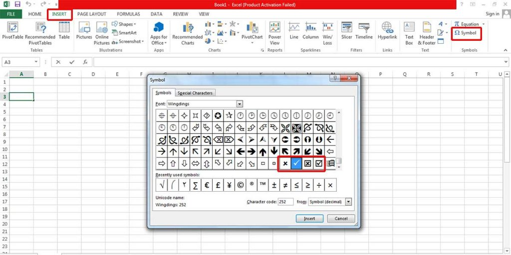 Steps of adding a tick symbol in Excel