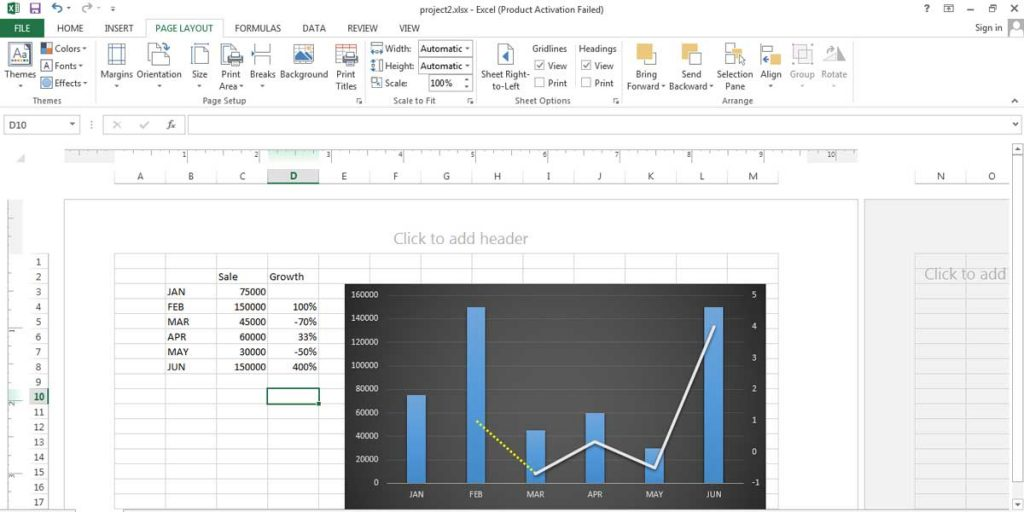 Excel sheet in Page Layout View, you can see where the header is located.