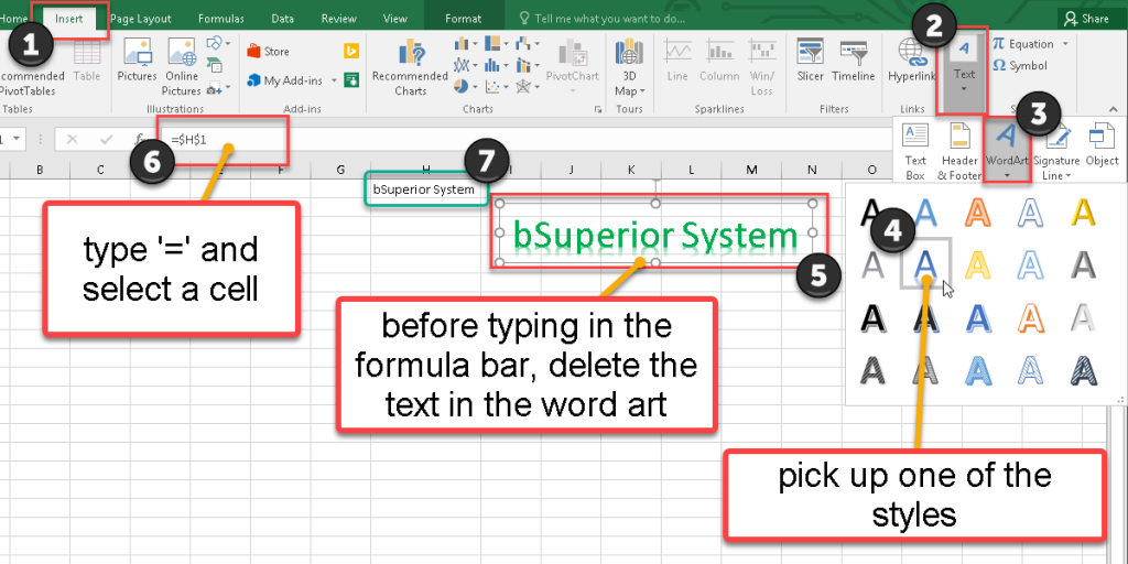How to add a word art in Excel 2016?