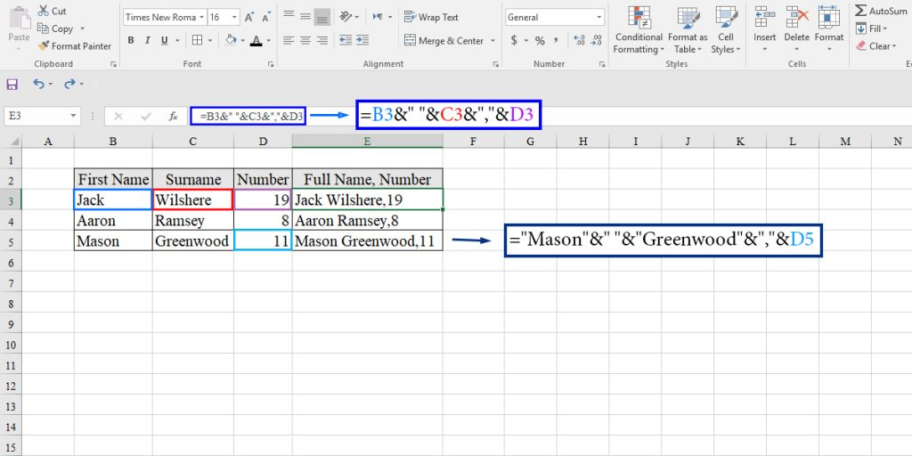 How to concatenate using & operator in Excel