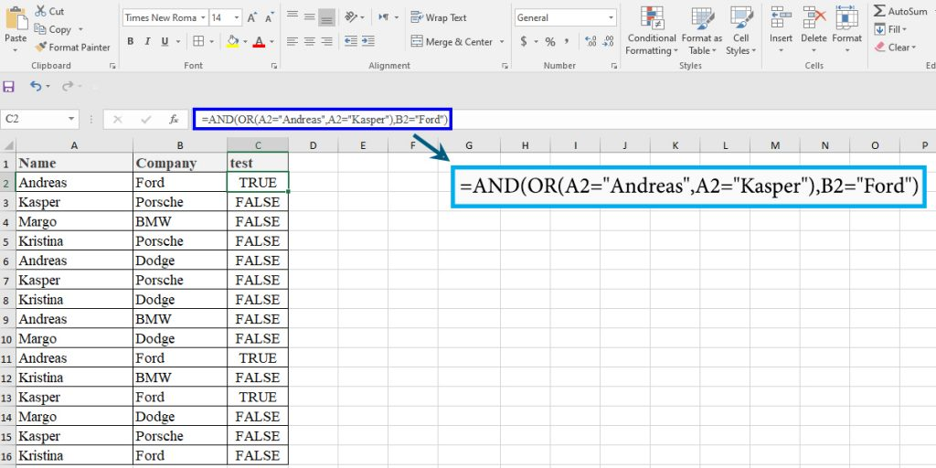 How to use the OR and AND functions in Excel