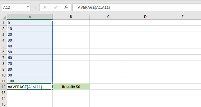 use the average formula to calculate the average range of cells in Excel