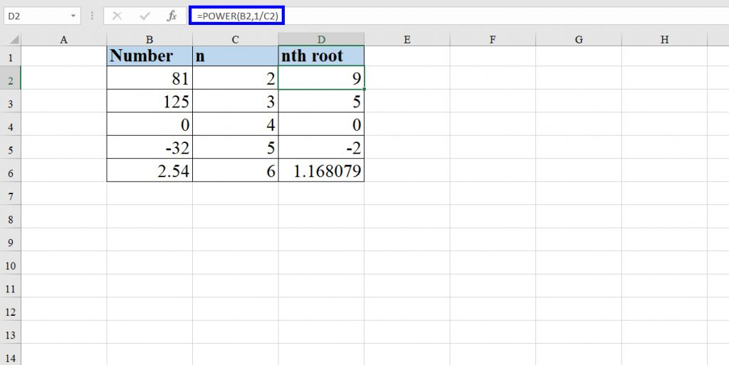 How to calculate square root and the nth root using the POWER function in Excel