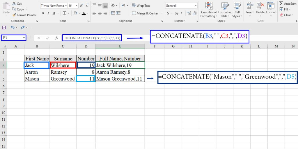 CONCATENATE function in Excel