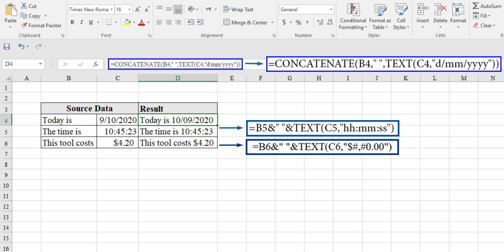 How to concatenate different formats in Excel