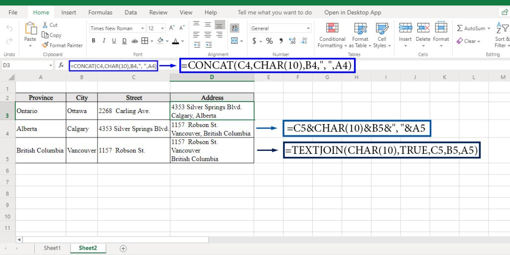 How to concatenate with a line break in Excel