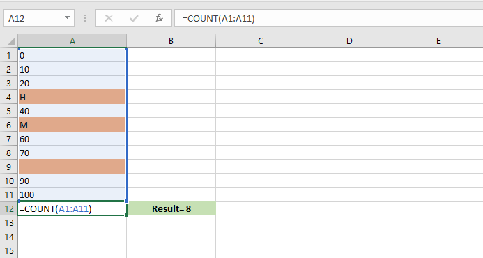 use count function in Excel - how to count some numeric values without alphabetic cells in the selected range in excel