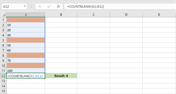 How to use countblank formula in excel