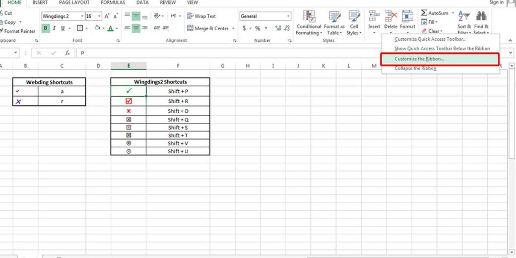 Customizing the Excel ribbon to add the Developer tab