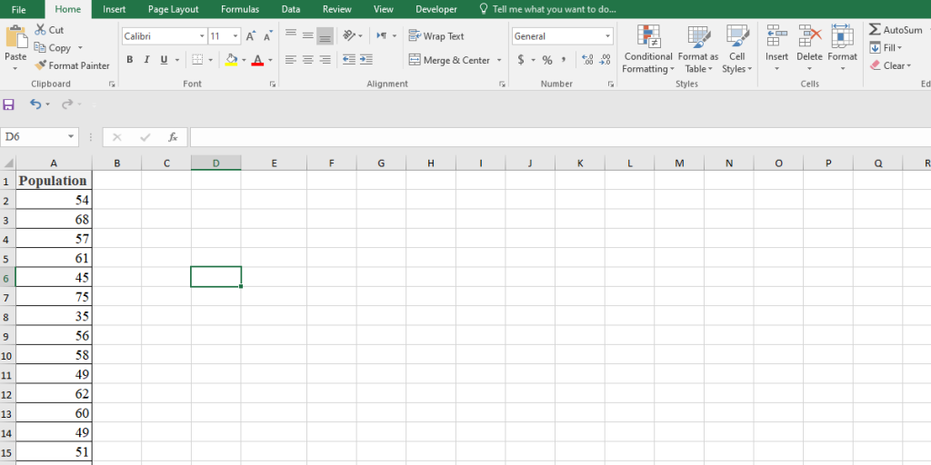 Calculation of standard deviation of a population in Excel