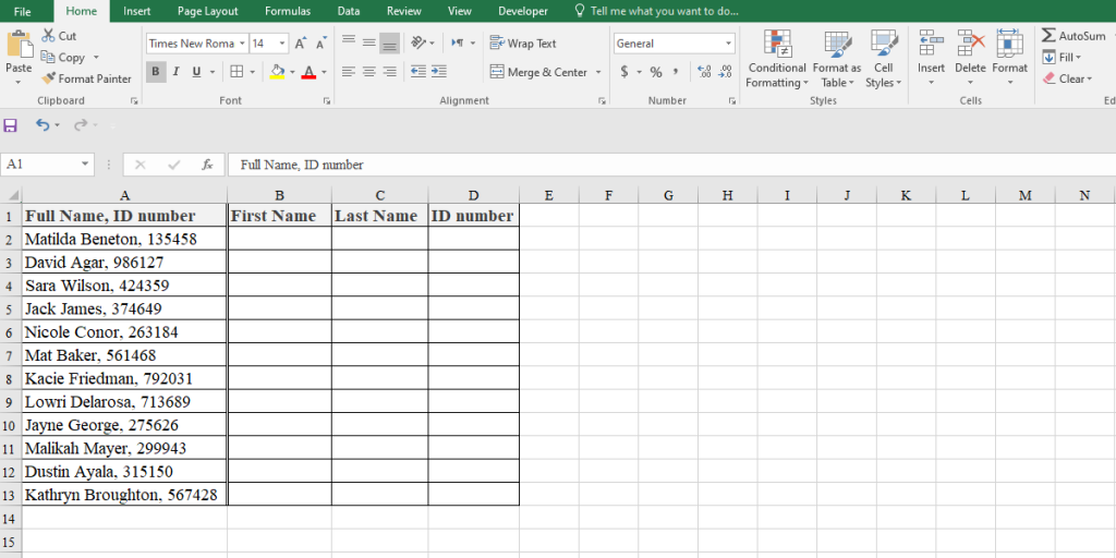 Example of how to split cells in Excel