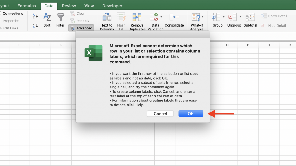 microsoft excel cannot determine which row in your list or selection contains column labels