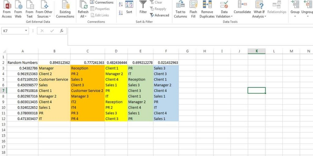 Shuffling the data of a table