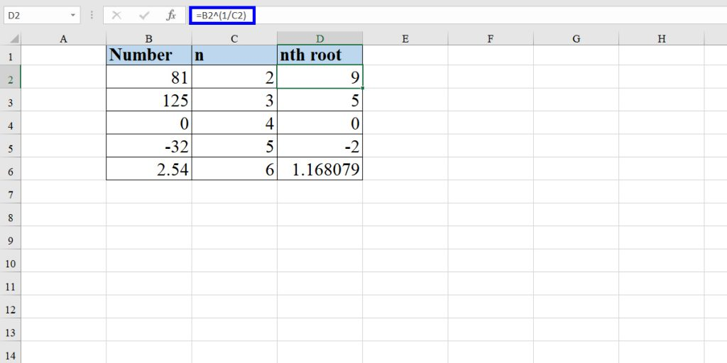 How to use exponential operator to calculate the square root and the nth root
