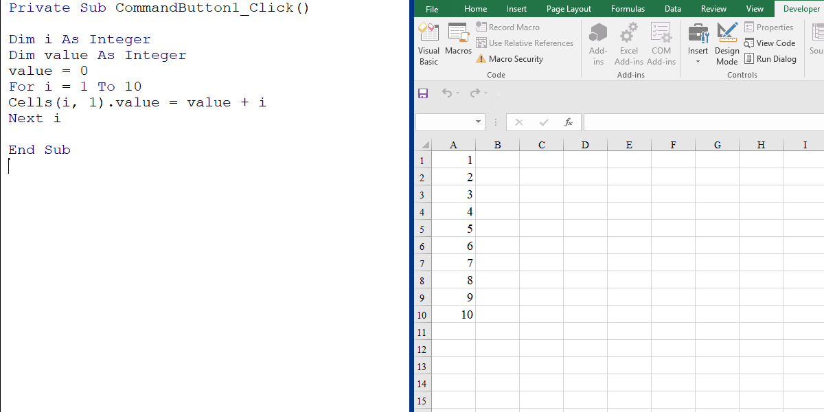 How to use a For loop in Excel VBA
