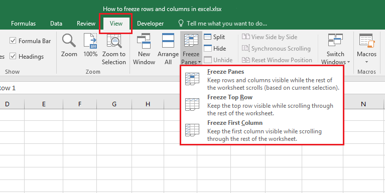 How to use freeze panes option in order to freeze rows and columns in Excel