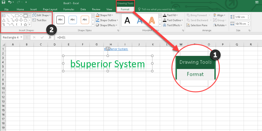 Adding a shape in Excel 2016 by the Drawing Tool.