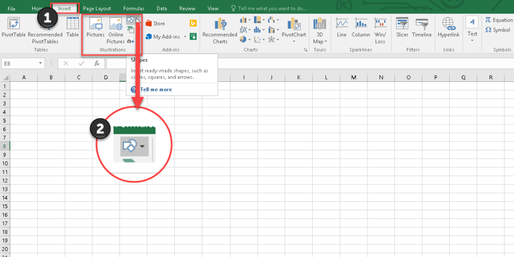 How to add a shape to an Excel worksheet by the Illustrations tool.
