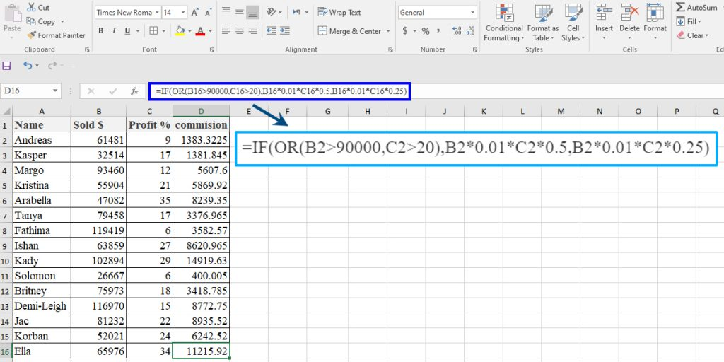 How to use OR in an IF statement in Excel
