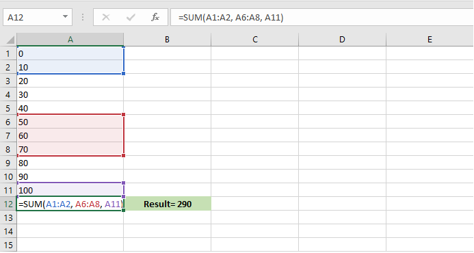 how to ignore values in sum function in excel