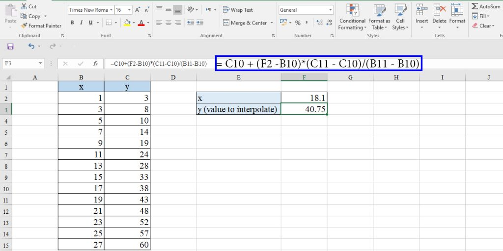 Linear interpolation equation in Excel
