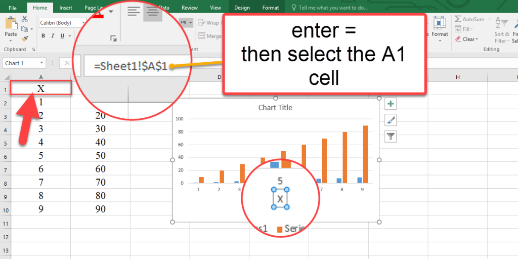 How to link the X axis title to the text in Excel?