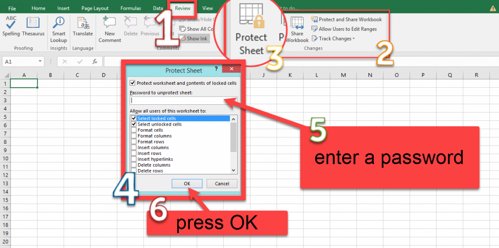 How to protect a sheet in Excel?