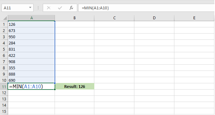 The MIN function in Excel