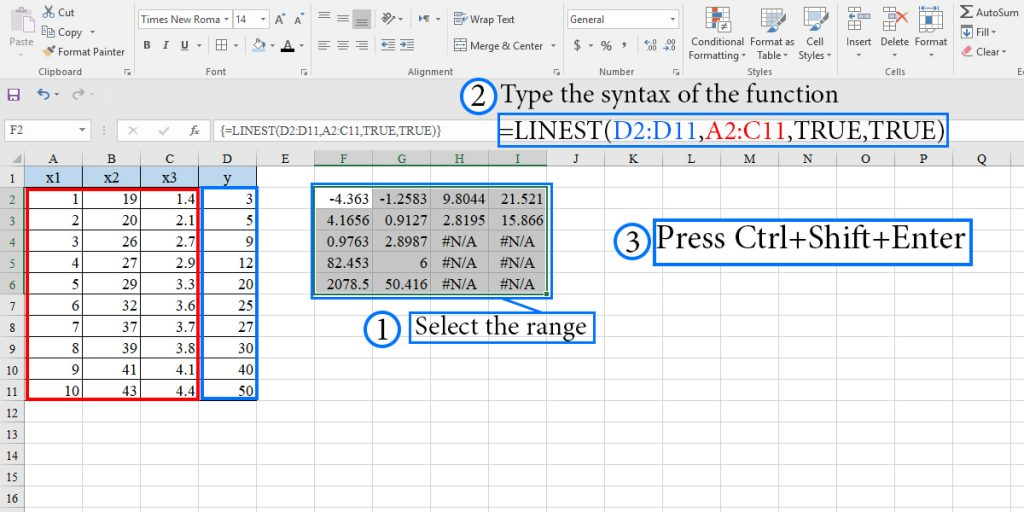 Simple linear regression using the LINEST function in Excel
