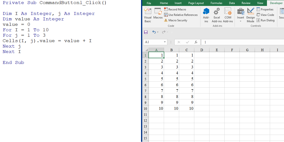 Nested For loop in Excel VBA