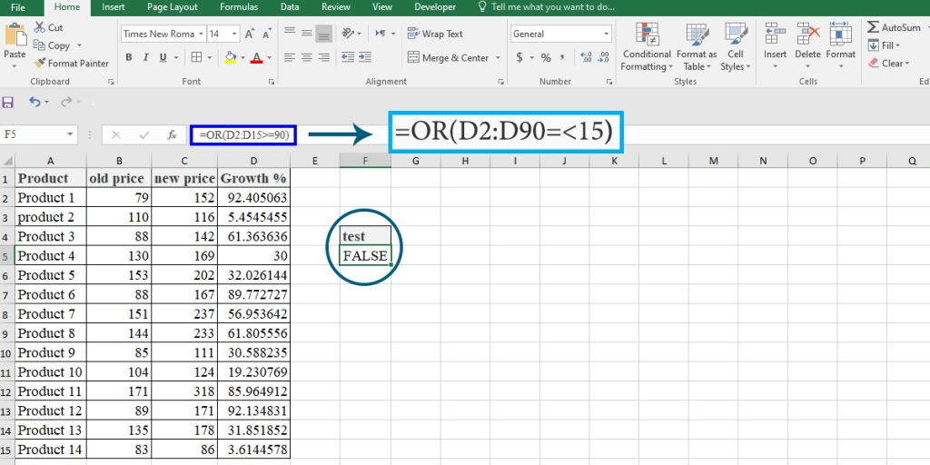 How to use the OR function as an array formula in Excel