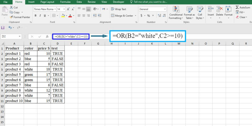 How to use the OR function in Excel